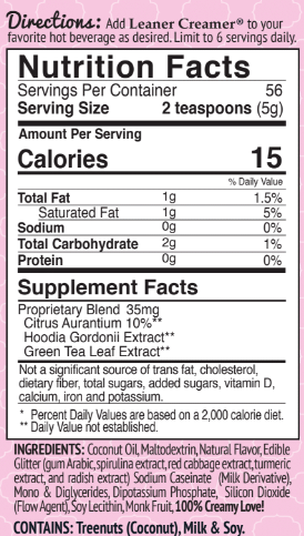 Nutrition Facts for BIRTHDAY CAKE CREAMER by Leaner Creamer