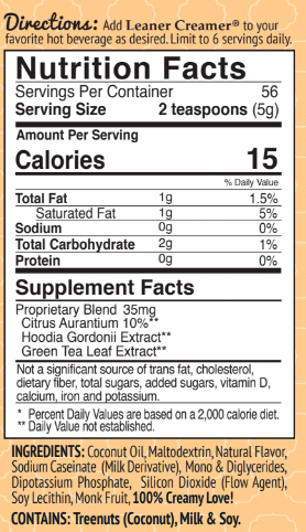 Nutrition Facts for CREAMY CARAMEL by Leaner Creamer