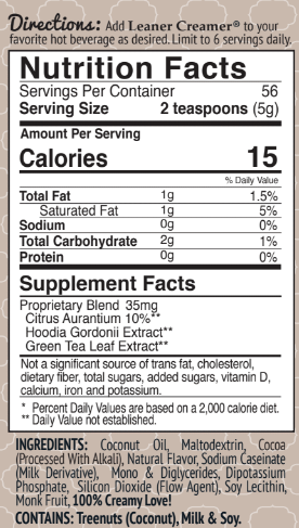 Nutrition Facts for INDULGENT MOCHA by Leaner Creamer