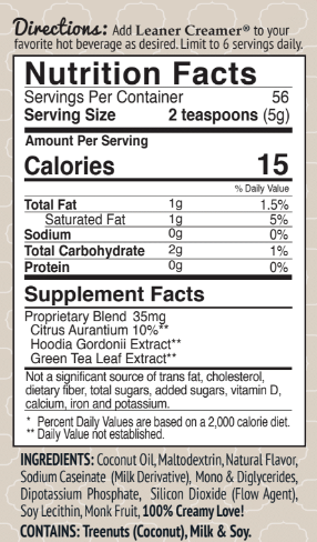 Nutrition Facts for Leaner Creamer ORIGINAL