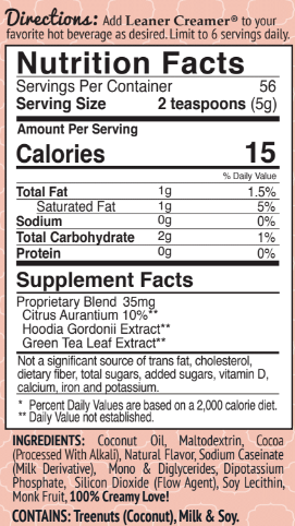 Nutrition Facts for PEPPERMINT MOCHA by Leaner Creamer