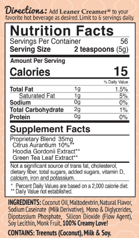 Nutrition Facts for PUMPKIN SPICE SEASONAL by Leaner Creamer