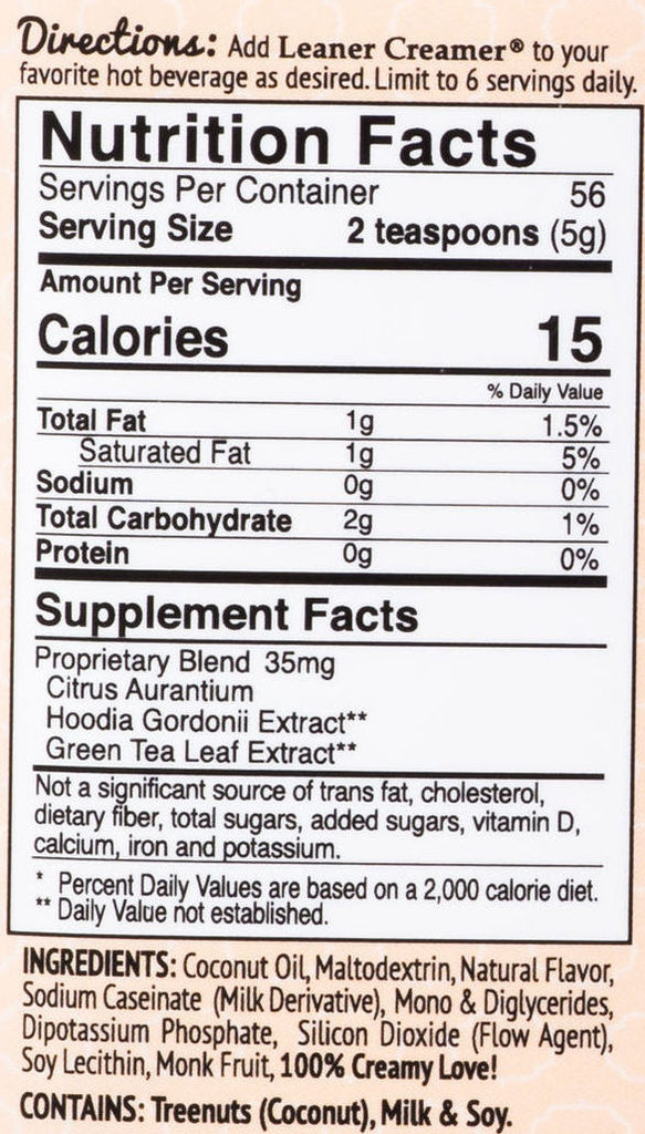 LeanerCreamer Nutrition Facts