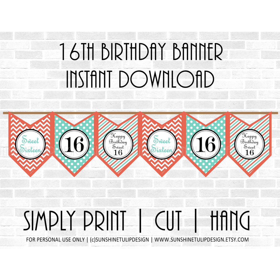 Printable 16th Birthday Party Banner, Sweet 16 Birthday Banner,  Coral & Aqua Chevron Banner by SUNSHINETULIPDESIGN - Sunshinetulipdesign - 1
