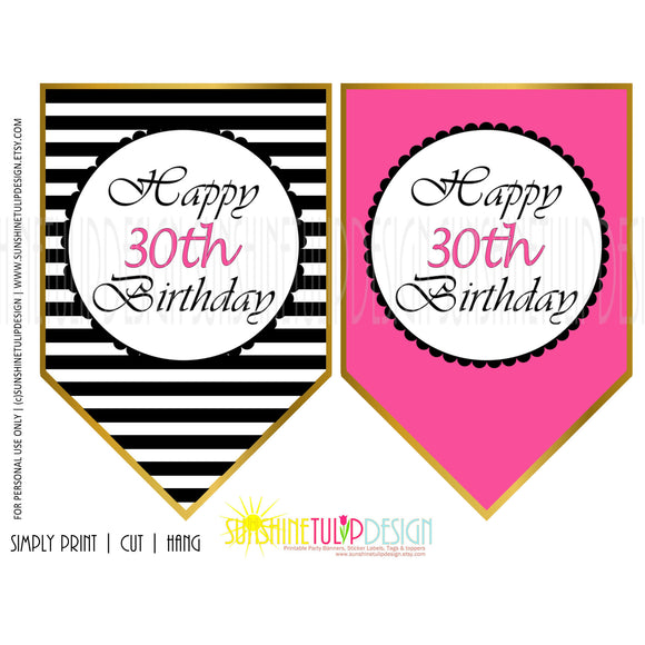 Printable 30th Birthday Hot Pink & Black Stripe Banner - Sunshinetulipdesign - 1