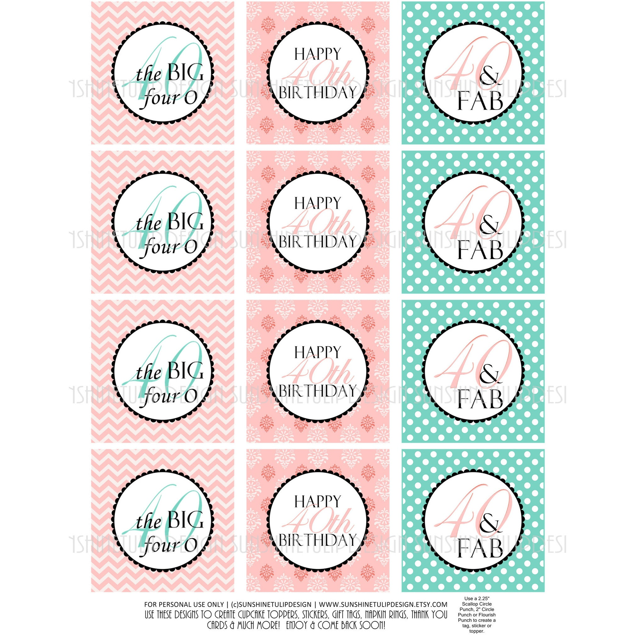 Printable 40th Birthday Cupcake Toppers Sticker Labels Party Favor Tags