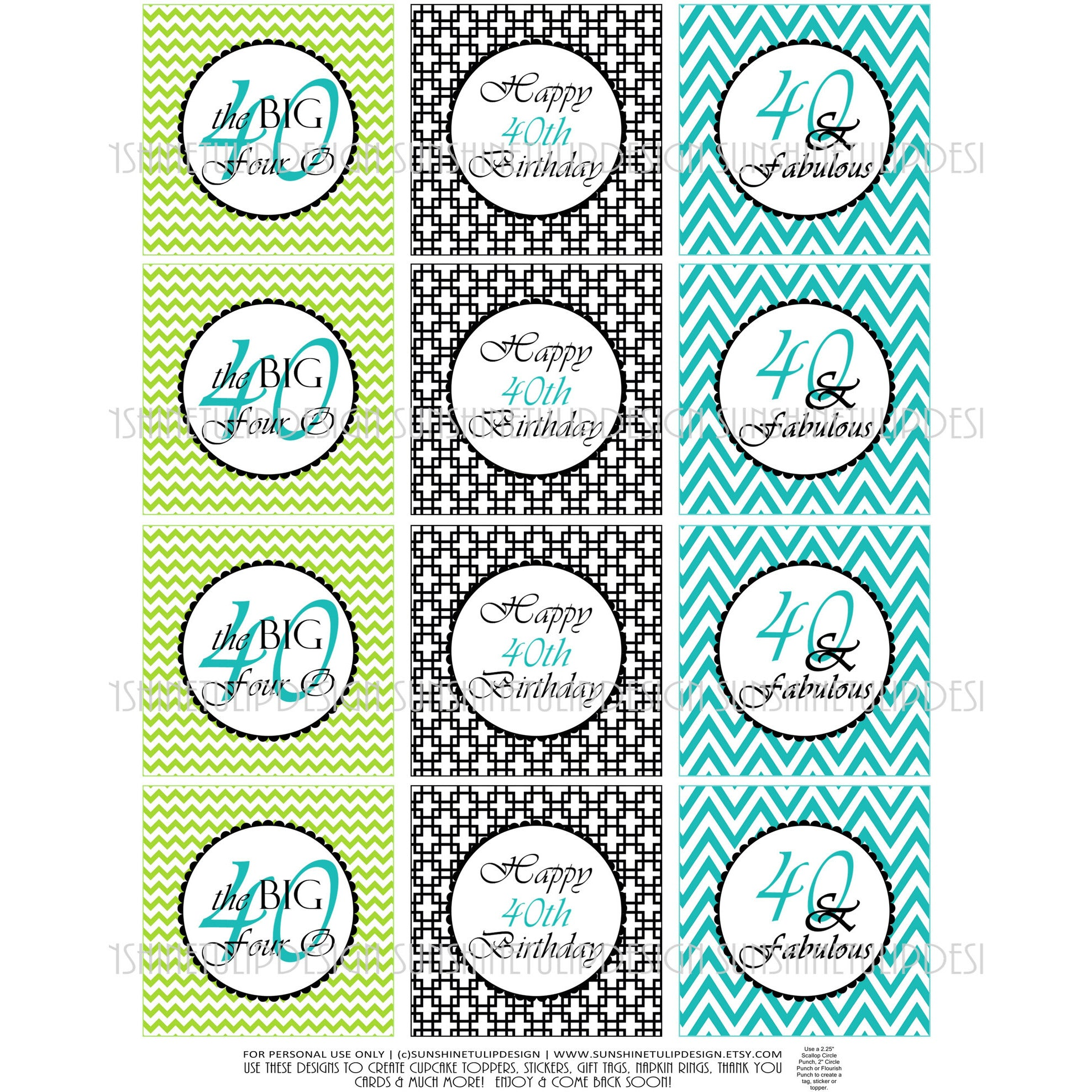 picture regarding Free Printable Birthday Labels and Tags called Printable 40th Birthday Cupcake Toppers, Sticker Labels