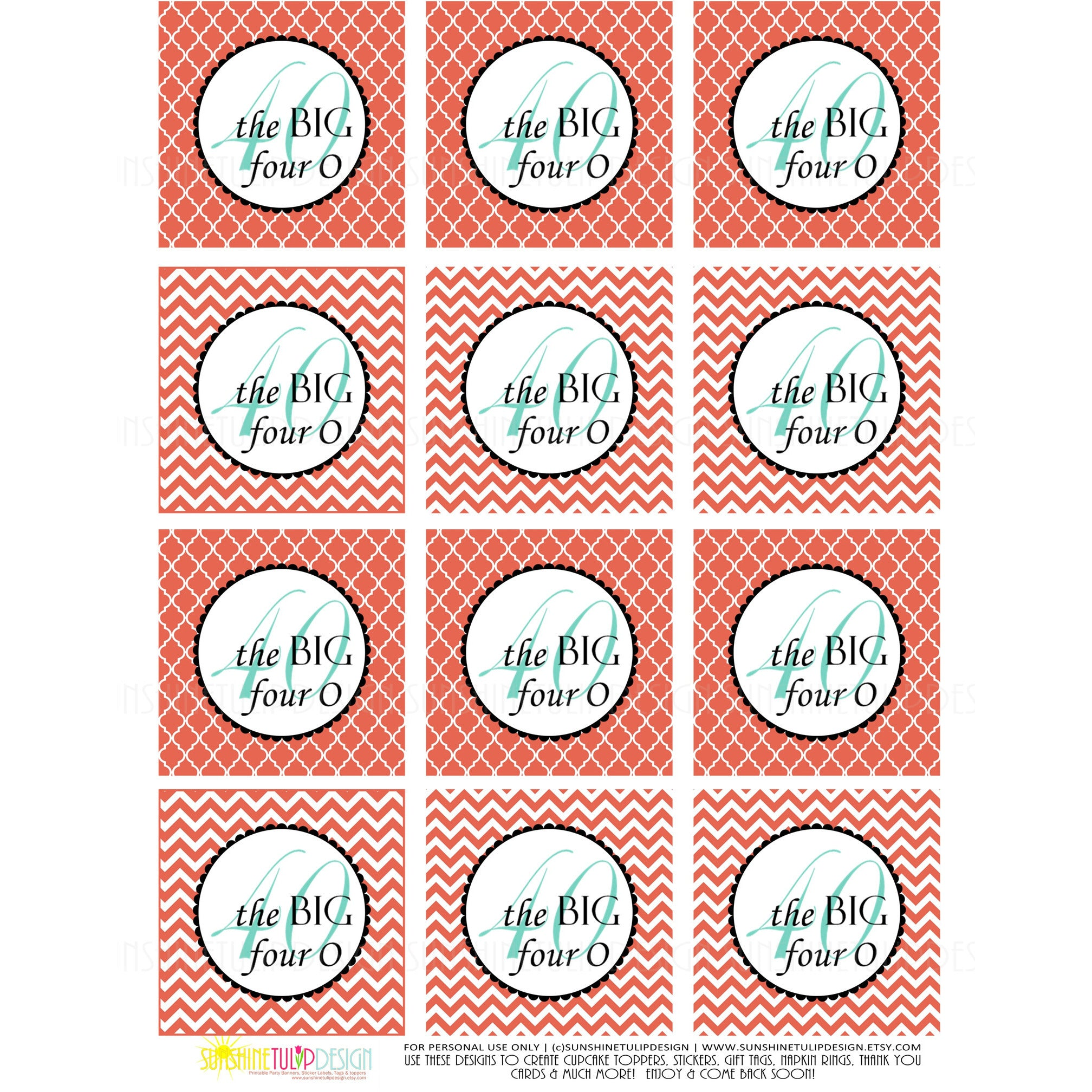 Printable 40 And Fabulous Birthday 40th Coral Cupcake Toppers Party Favor Tags