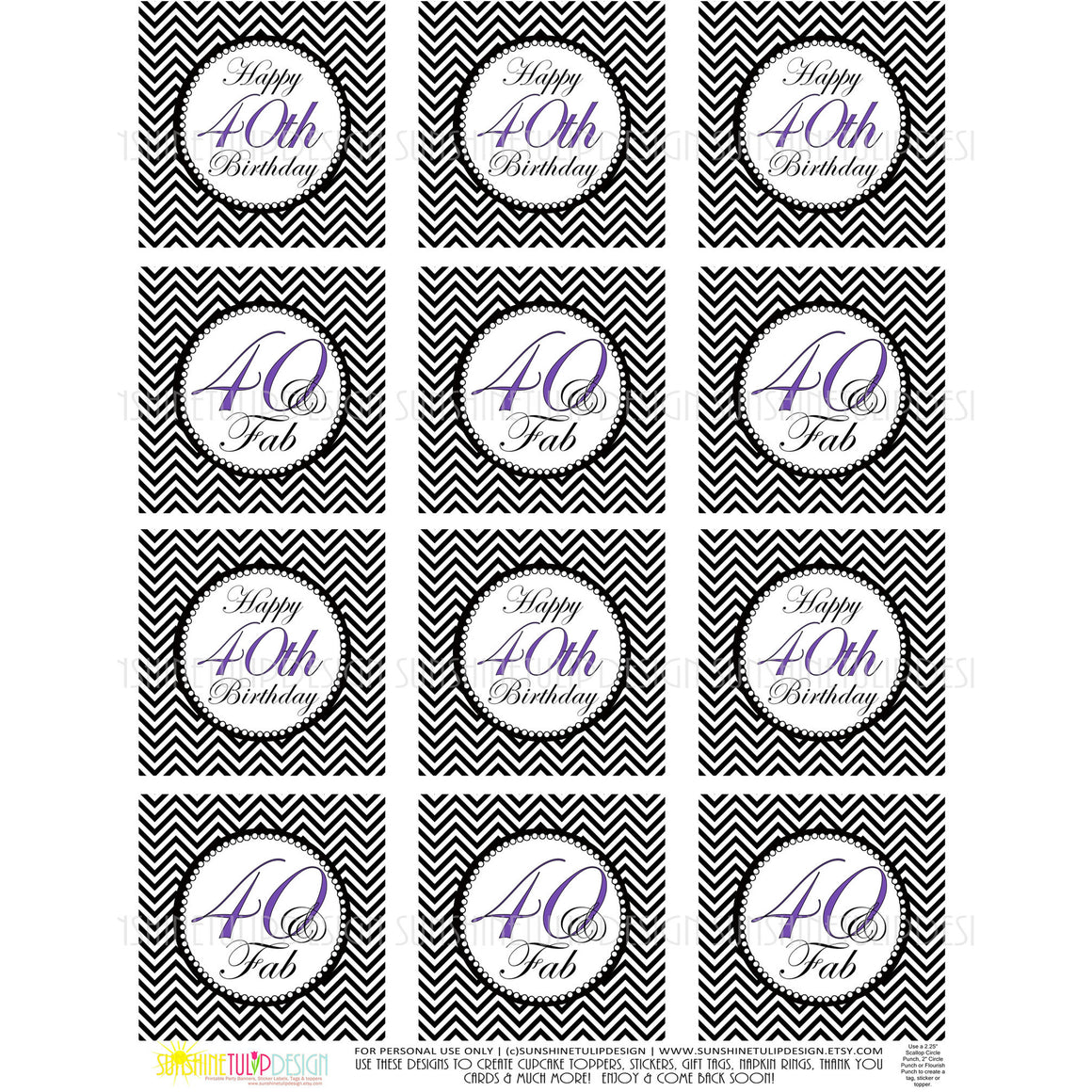 Printable 40th Birthday Cupcake Toppers, Sticker Labels & Party Favor Tags - Sunshinetulipdesign