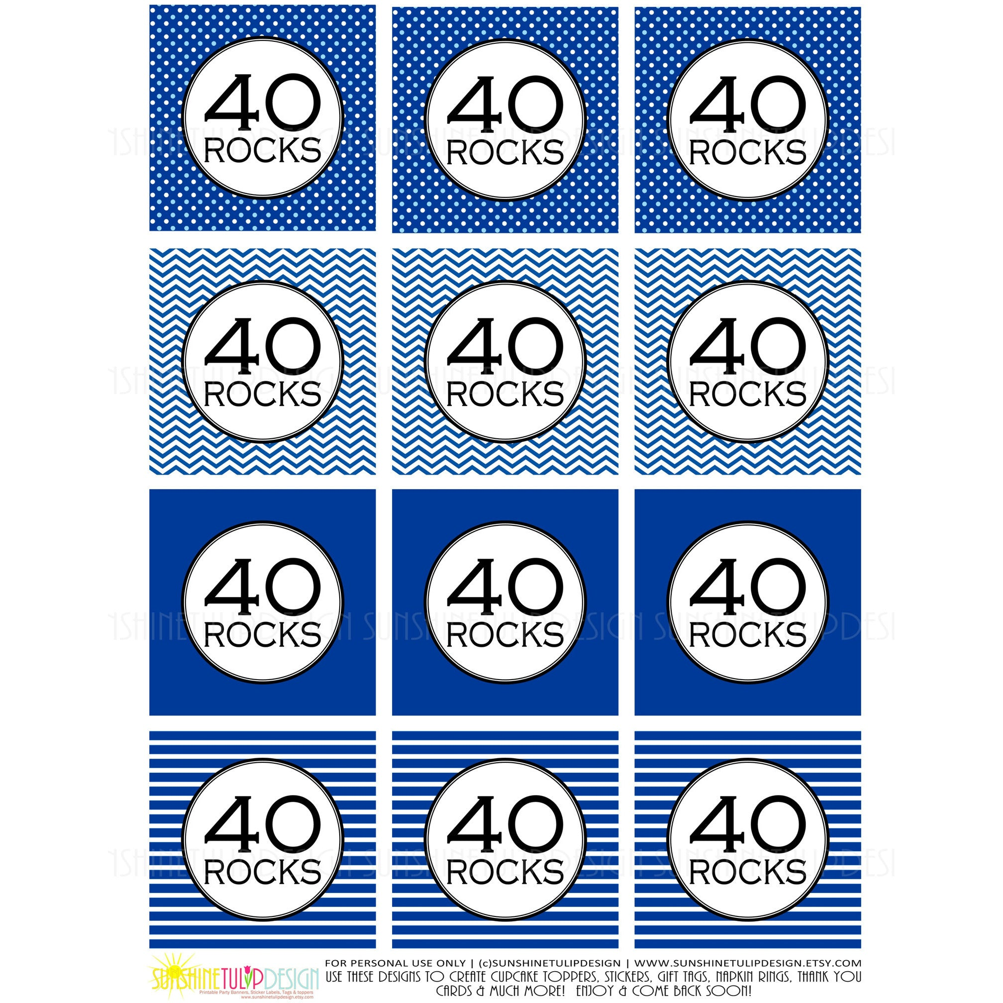 Printable 40th Birthday 40 Rocks Cupcake Toppers Party Favor Tags By SUNSHINETULIPDESIGN