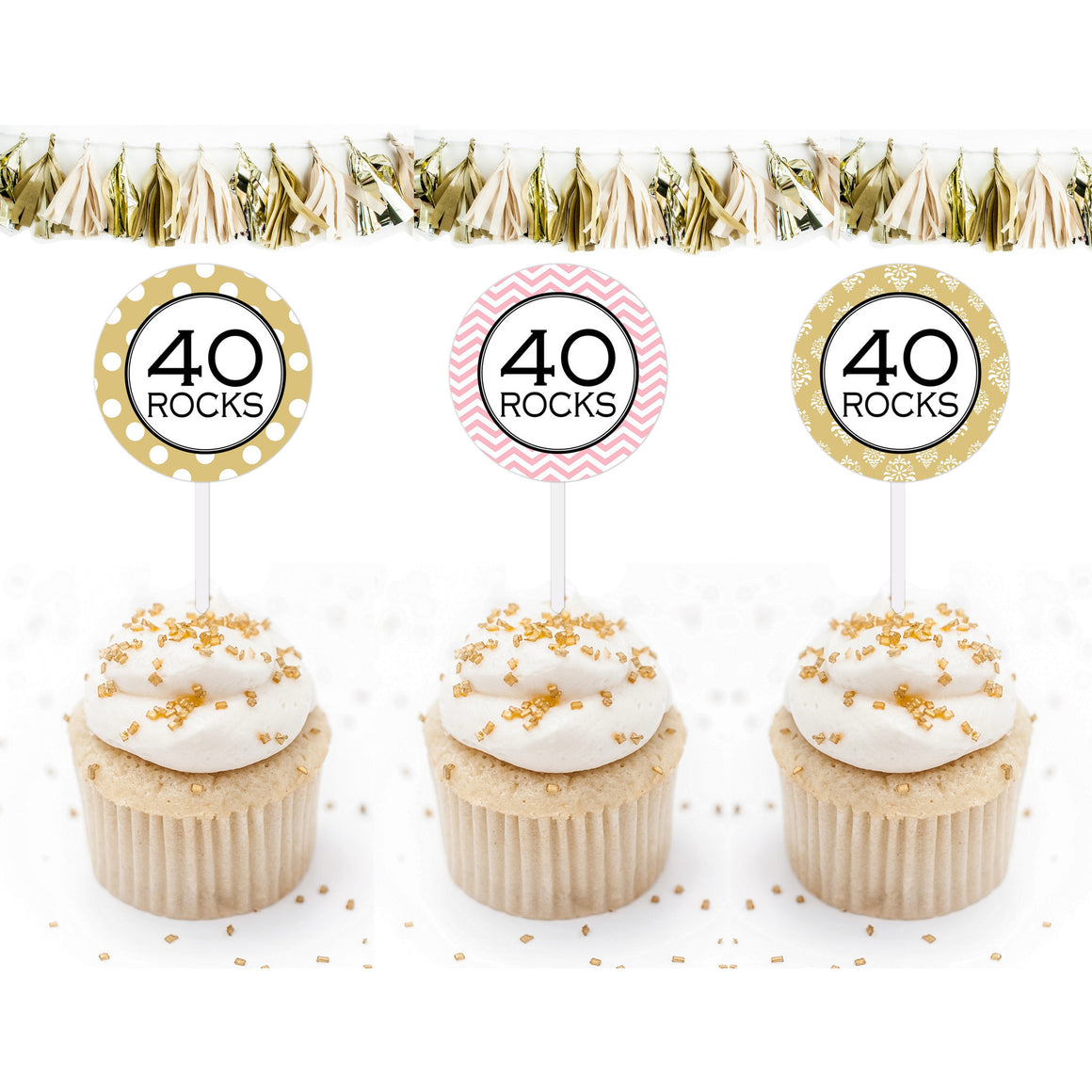 Printable 40th Birthday, 40 Rocks Cupcake Toppers, & Party Favor Tags by SUNSHINETULIPDESIGN - Sunshinetulipdesign - 1