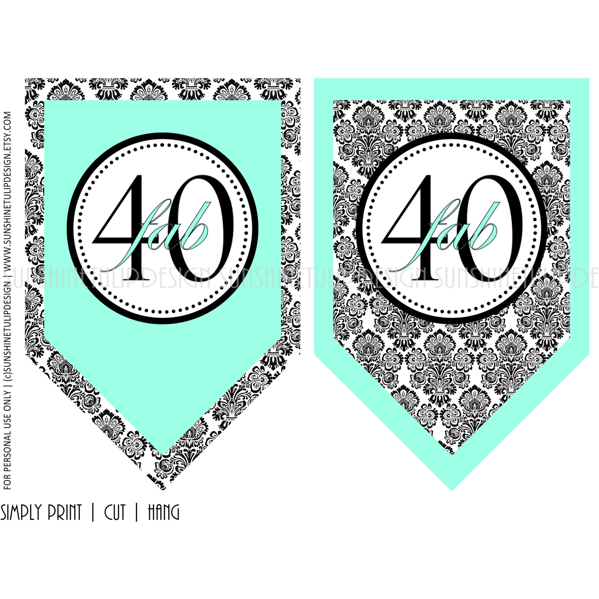 graphic relating to Printable Birthday Banners identified as Printable 40th Birthday Aqua Black Damask Banner
