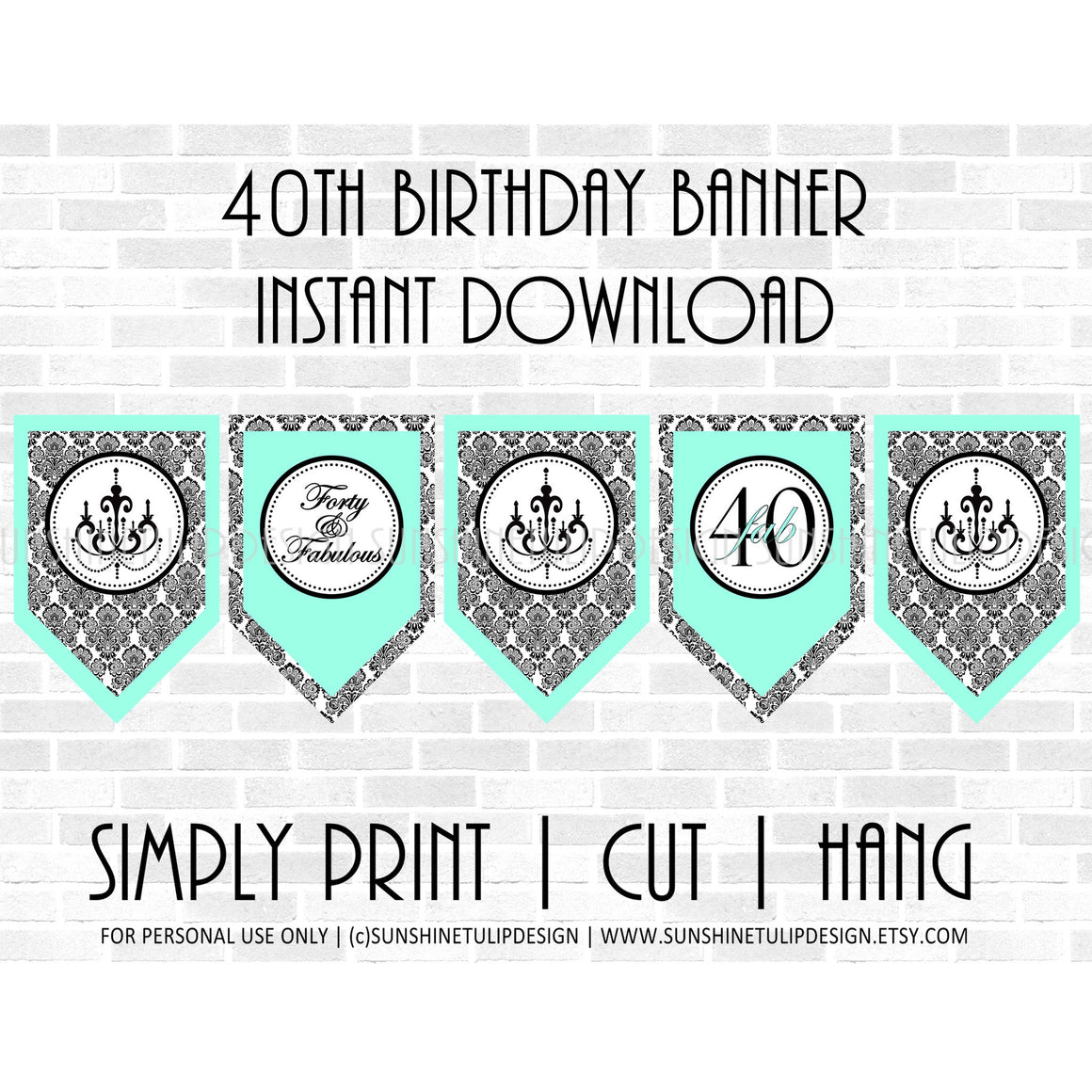 Printable 40th Birthday Aqua & Black Damask Banner - Sunshinetulipdesign - 1