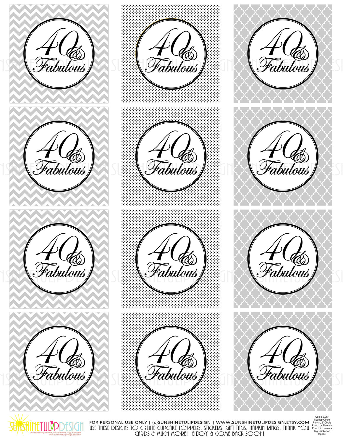 Printable 40 and Fabulous Black & Gray Birthday Cupcake Toppers, Sticker Labels & Party Favor Tags - Sunshinetulipdesign