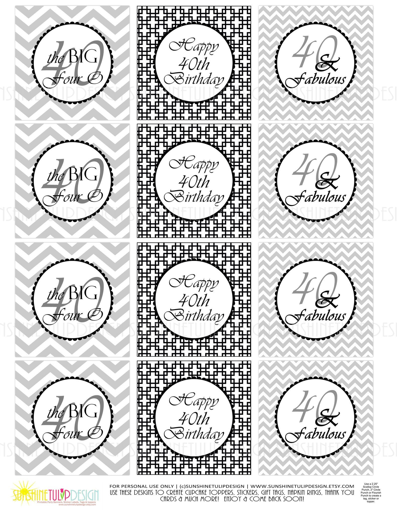 photograph relating to Printable Sticker Labels titled Printable 40th Birthday Black Grey Birthday Cupcake Toppers, Sticker Labels Occasion Choose Tags