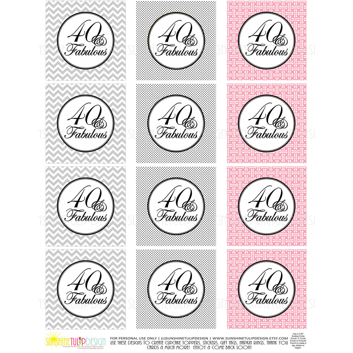 Printable 40 and Fabulous Black Gray & Pink Birthday Cupcake Toppers, Sticker Labels & Party Favor Tags - Sunshinetulipdesign