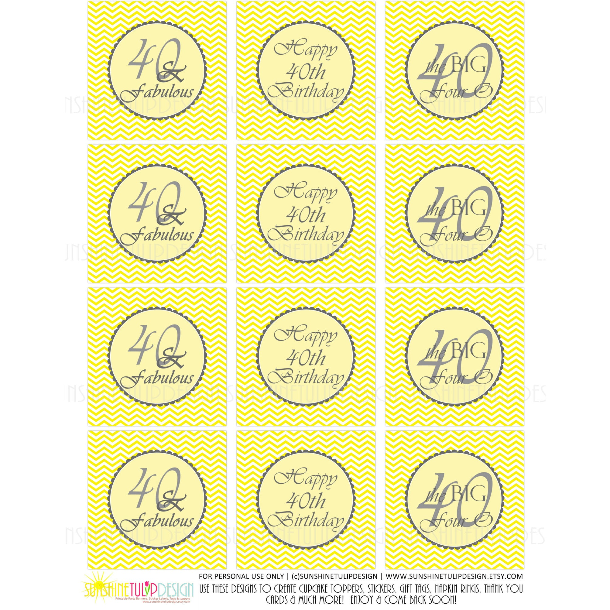 graphic regarding Printable Stickers Labels titled Printable 40 and Amazing Yellow Grey Birthday Cupcake Toppers, Sticker Labels Bash Prefer Tags