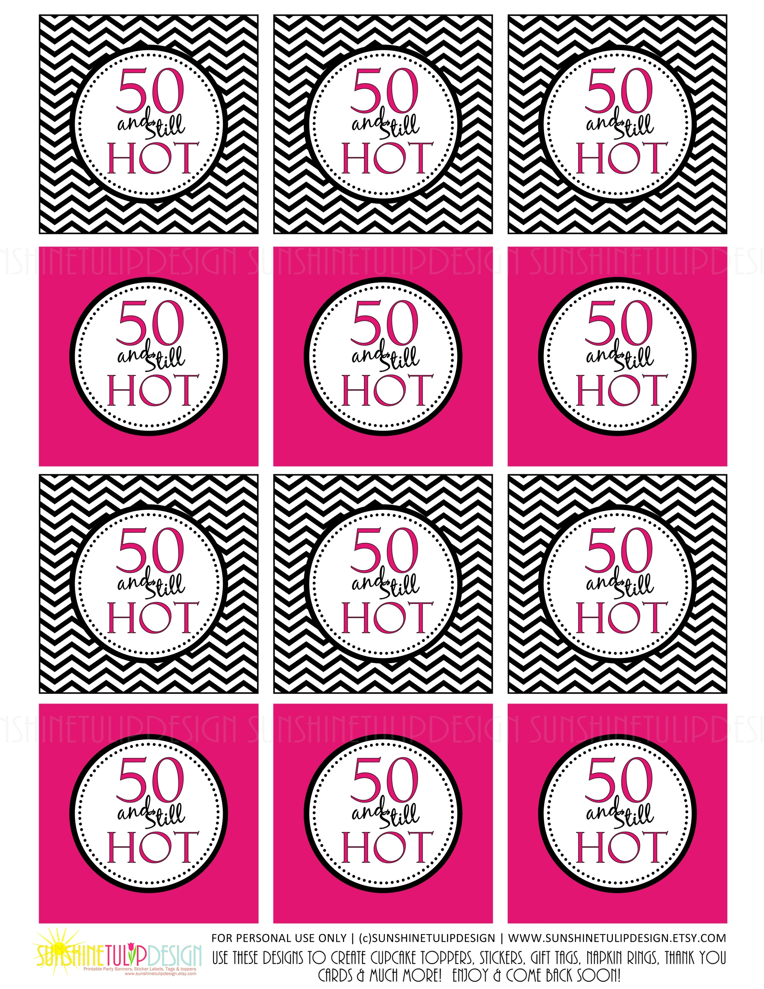 Printable 50 And Still Hot Birthday Cupcake Toppers