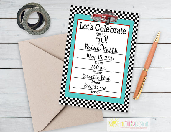 Printable 50th Birthday Party Package, 50th Fast Cars Party Decorations by SUNSHINETULIPDESIGN