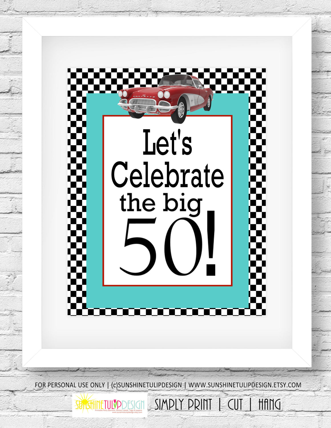 Printable 50th Birthday Party Package Fast Cars Decorations By SUNSHINETULIPDESIGN