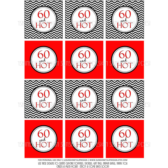 Printable 60th Birthday Cupcake Toppers, Sticker Labels & Party Favor Tags - Sunshinetulipdesign