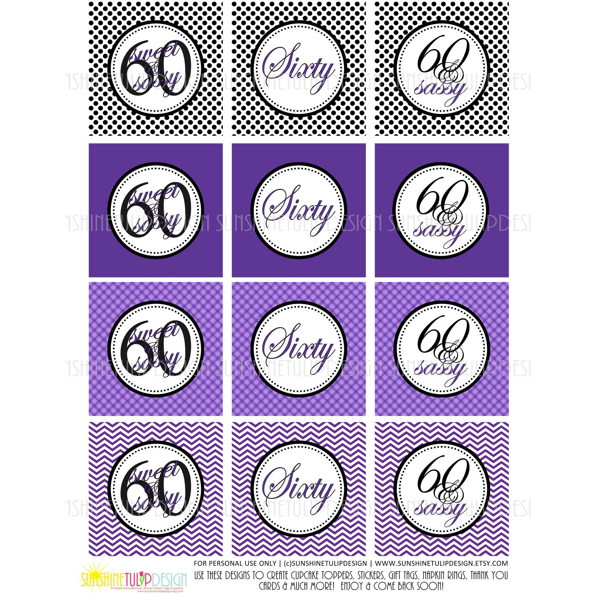 picture relating to Printable Sticker Labels referred to as Printable 60th Birthday Cupcake Toppers, Sticker Labels Celebration Desire Tags