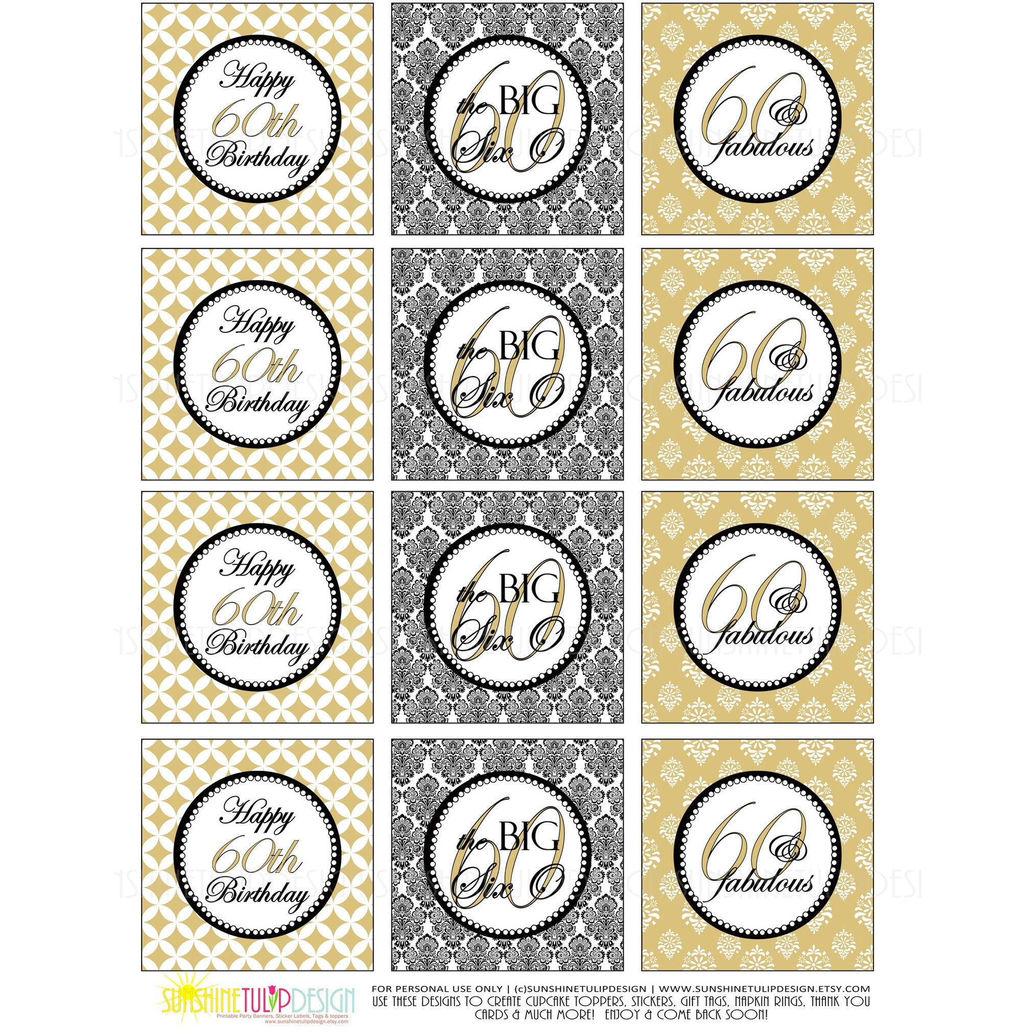 photograph about Printable Sticker Labels named Printable 60th Birthday Gold Cupcake Toppers, Sticker Labels Bash Choose Tags by means of Sunshinetulipdesign