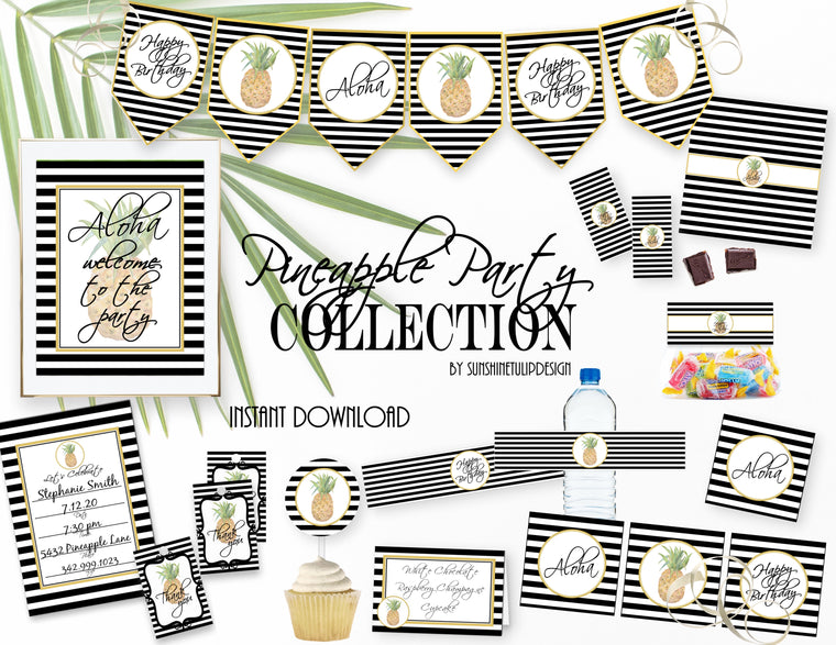 Printable Party Like A Pineapple Birthday Party Package, Aloha Tropical Party Decorations by SUNSHINETULIPDESIGN