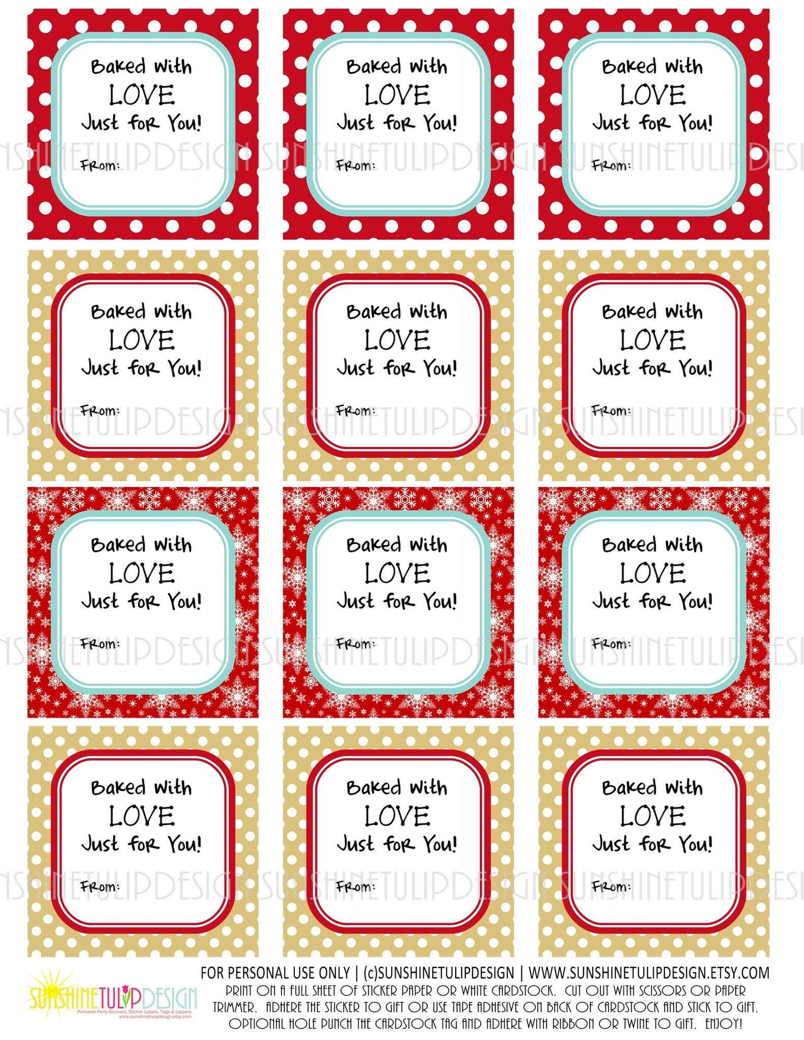 printable baked with love food gift tags baked goods gift tags
