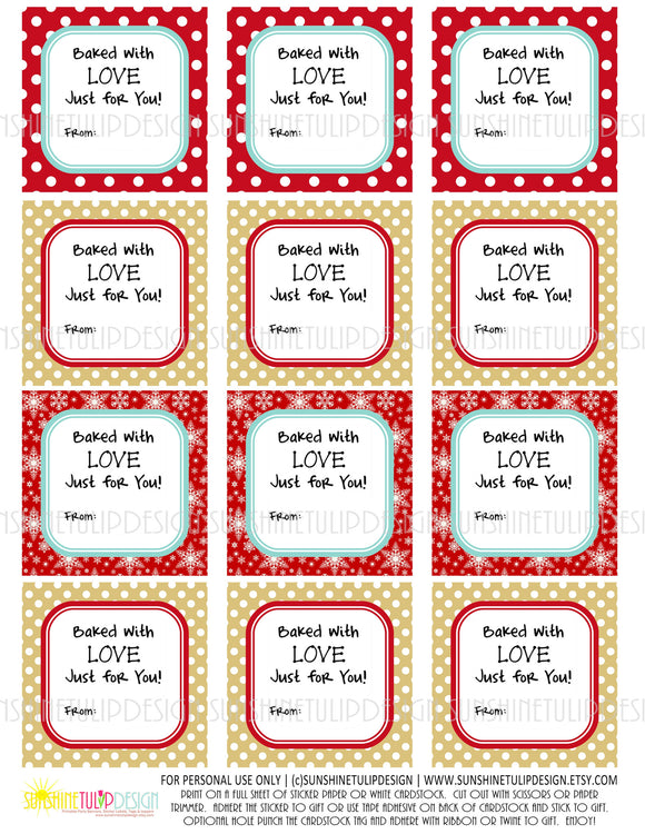 Gift tags labels sunshinetulipdesign cookie printable baked with love food gift tags baked goods gift tags cookie negle Gallery