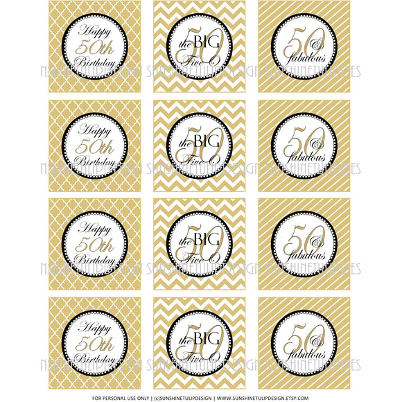Sunshinetulipdesign Printable 50th Birthday Cupcake Toppers Sticker Labels Party Favor Tags