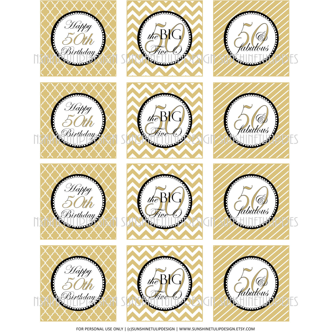 Printable 50th Birthday Cupcake Toppers, Sticker Labels & Party Favor Tags - Sunshinetulipdesign
