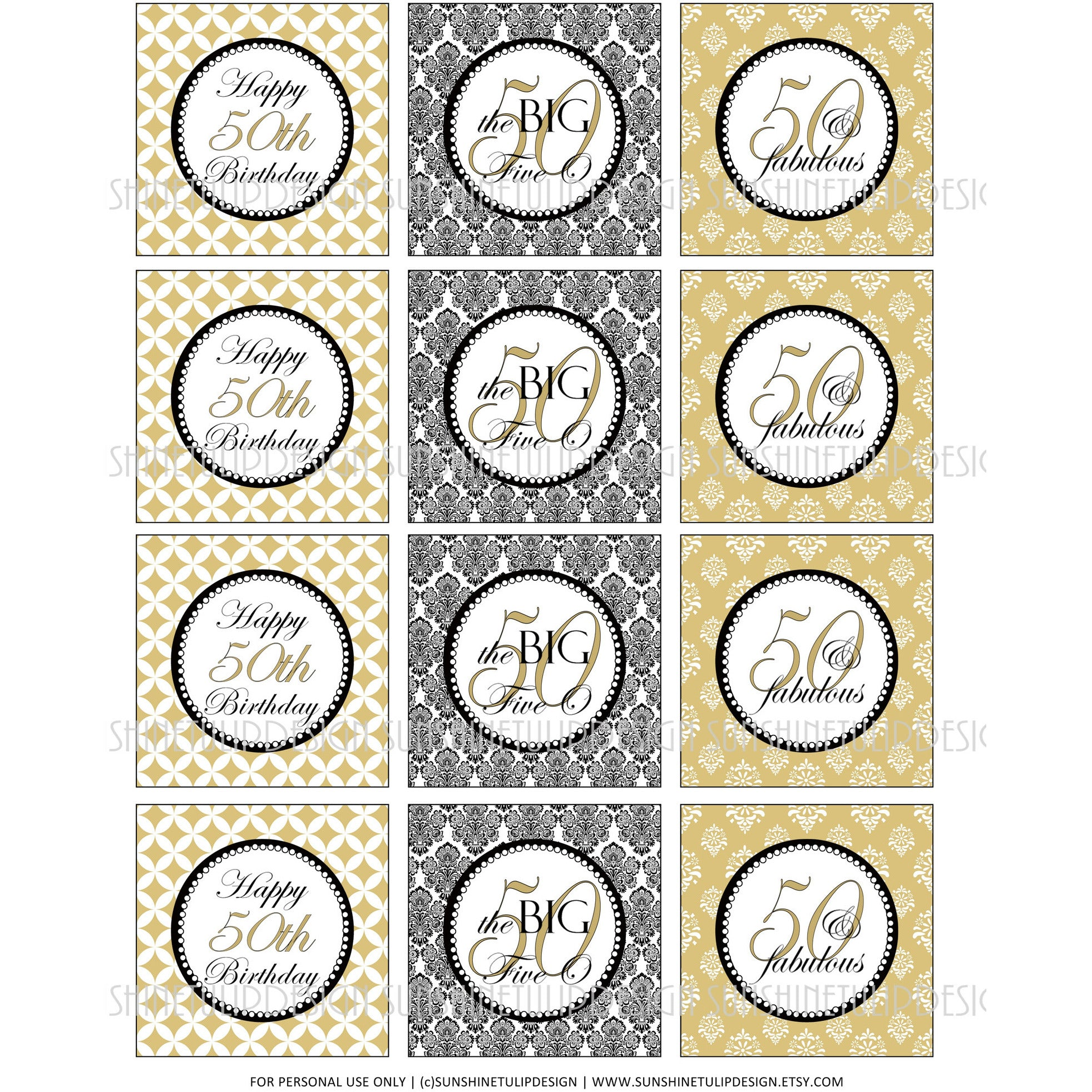 Printable 50th Birthday Gold Black Cupcake Toppers Sticker Labels Party Favor Tags