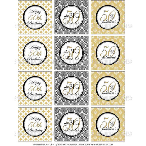 Printable 50th Birthday Gold & Black Cupcake Toppers, Sticker Labels & Party Favor Tags - Sunshinetulipdesign
