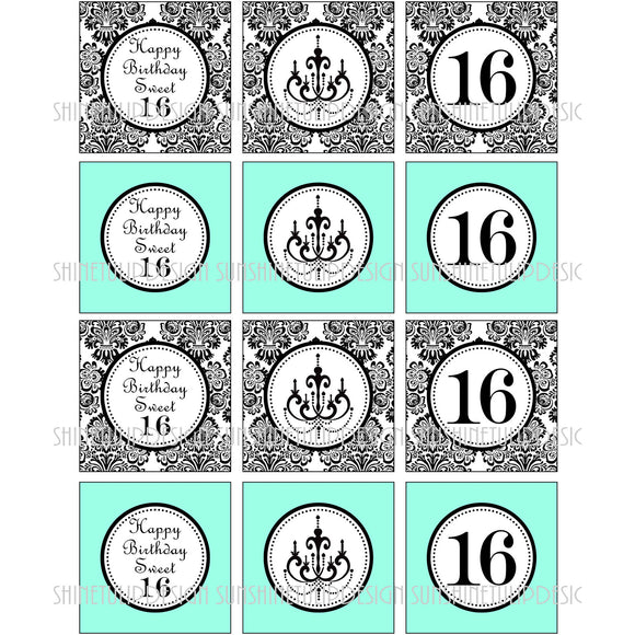 Printable Sweet 16 Birthday Cupcake Toppers, Sticker Labels & Party Favor Tags by SUNSHINETULIPDESIGN - Sunshinetulipdesign