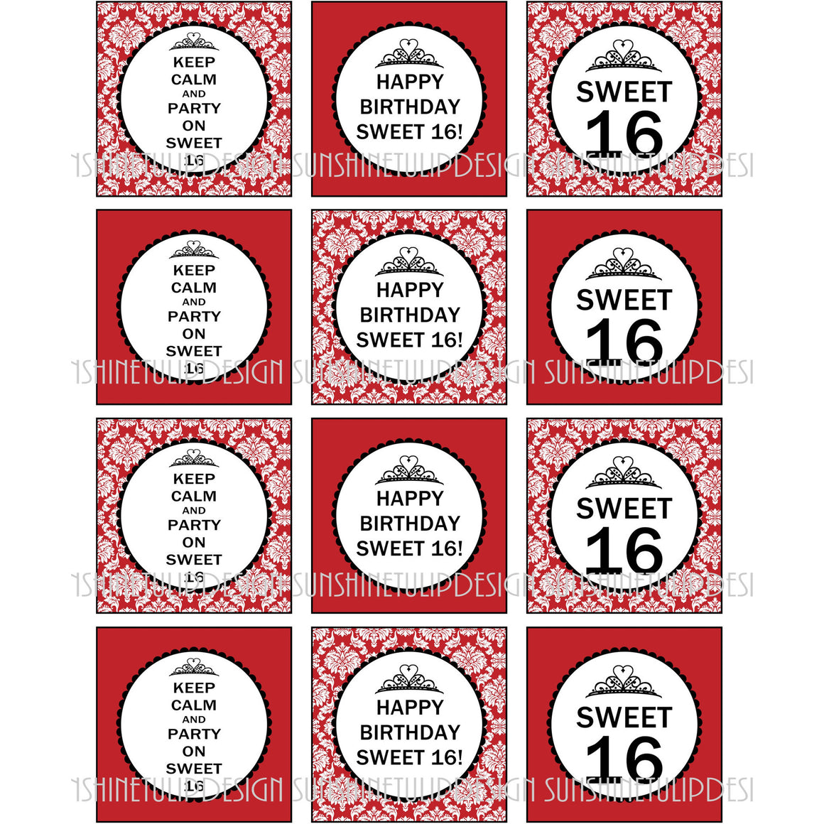 Printable Sweet 16 Birthday Cupcake Toppers, Sticker Labels & Party Favor Tags by SUSHINETULIPDESIGN - Sunshinetulipdesign