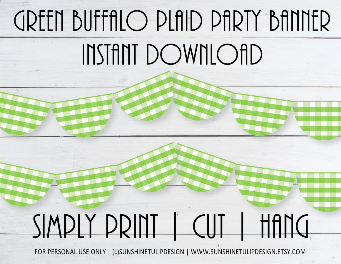 Printable Buffalo Plaid Green Party Banner, Buffalo Check Birthday Banner by SUNSHINETULIPDESIGN