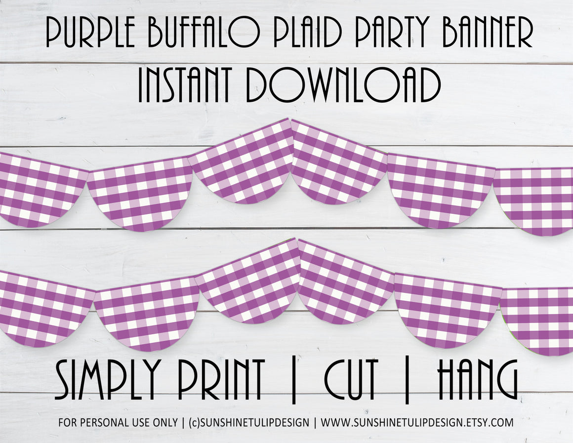 Printable Buffalo Plaid Purple Party Banner, Buffalo Check Birthday Banner by SUNSHINETULIPDESIGN