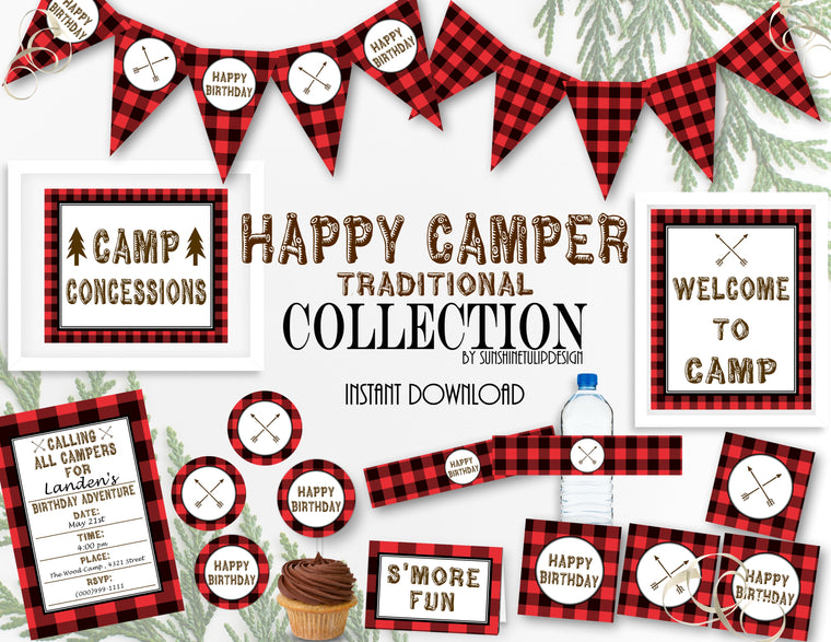 Printable Buffalo Plaid Camping Birthday Party Package, Campout Birthday Party Decorations by SUNSHINETULIPDESIGN