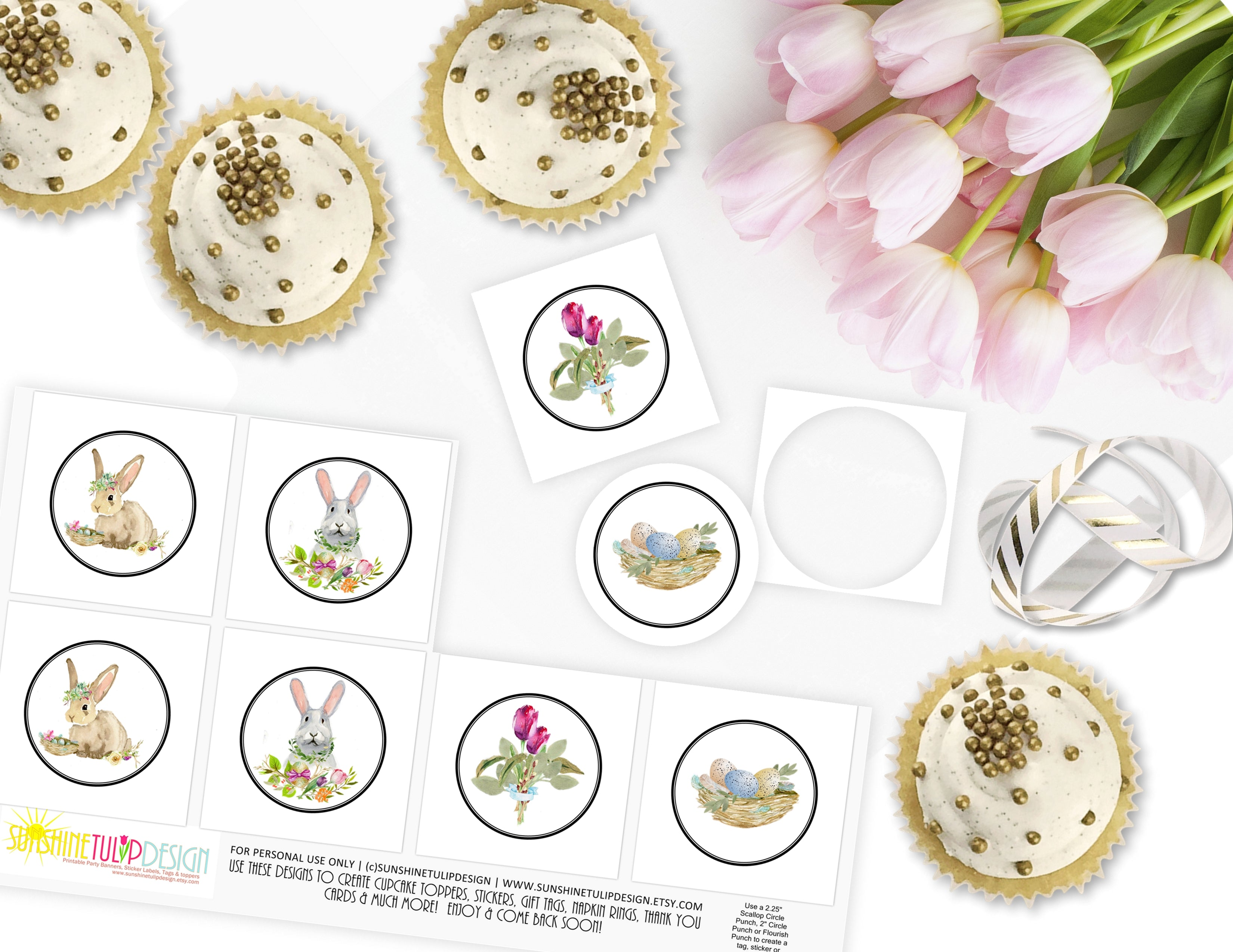 Printable Bunny And Florals Cupcake Toppers By Sunshinetulipdesign Sunshinetulipdesign