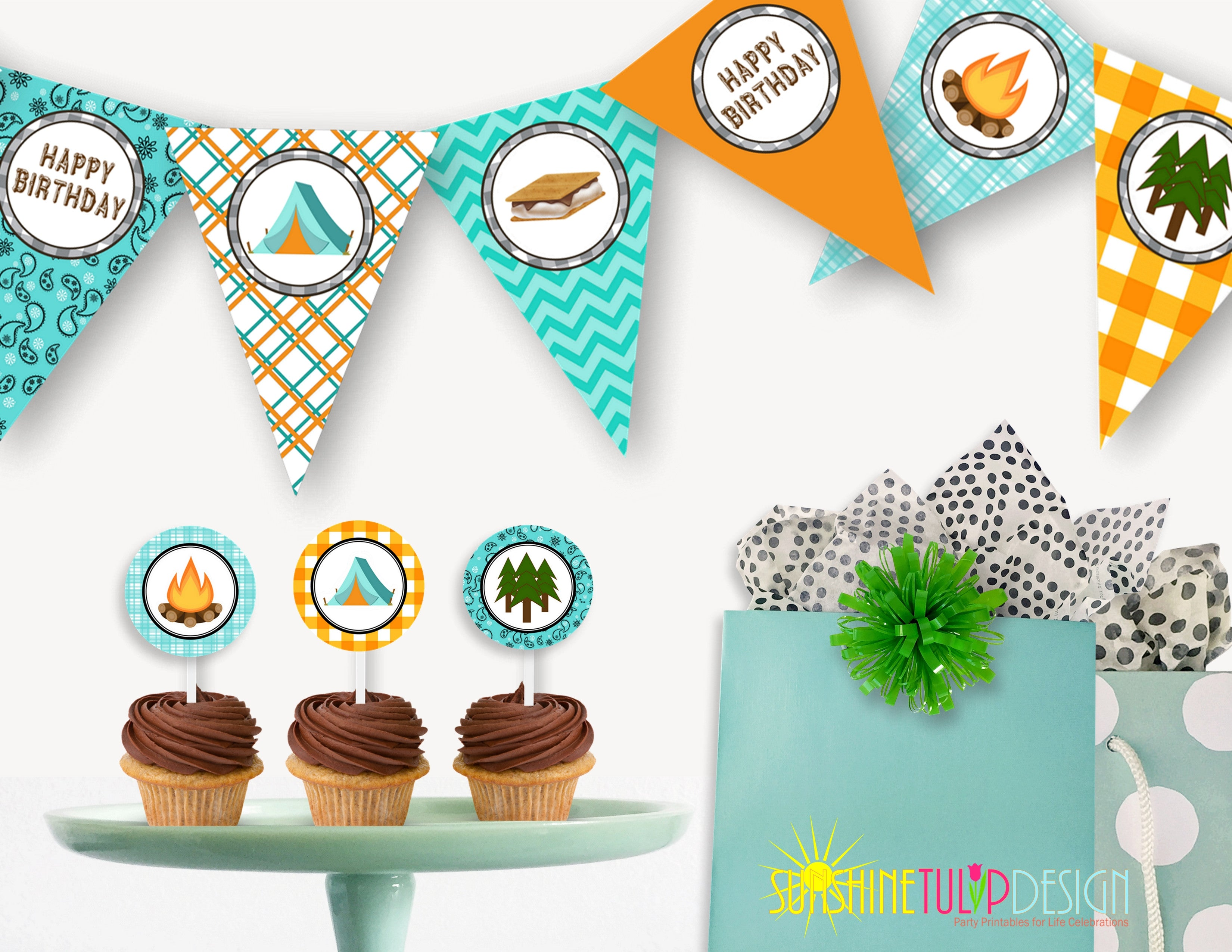 Printable Camping Birthday Party Package Banner