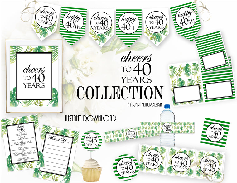 Printable 40th Birthday Party Package, Cheers To 40 Years Party Decorations by SUNSHINETULIPDESIGN