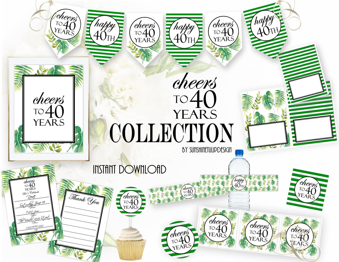 Printable 40th Birthday Party Package Cheers To 40 Years Decorations By SUNSHINETULIPDESIGN