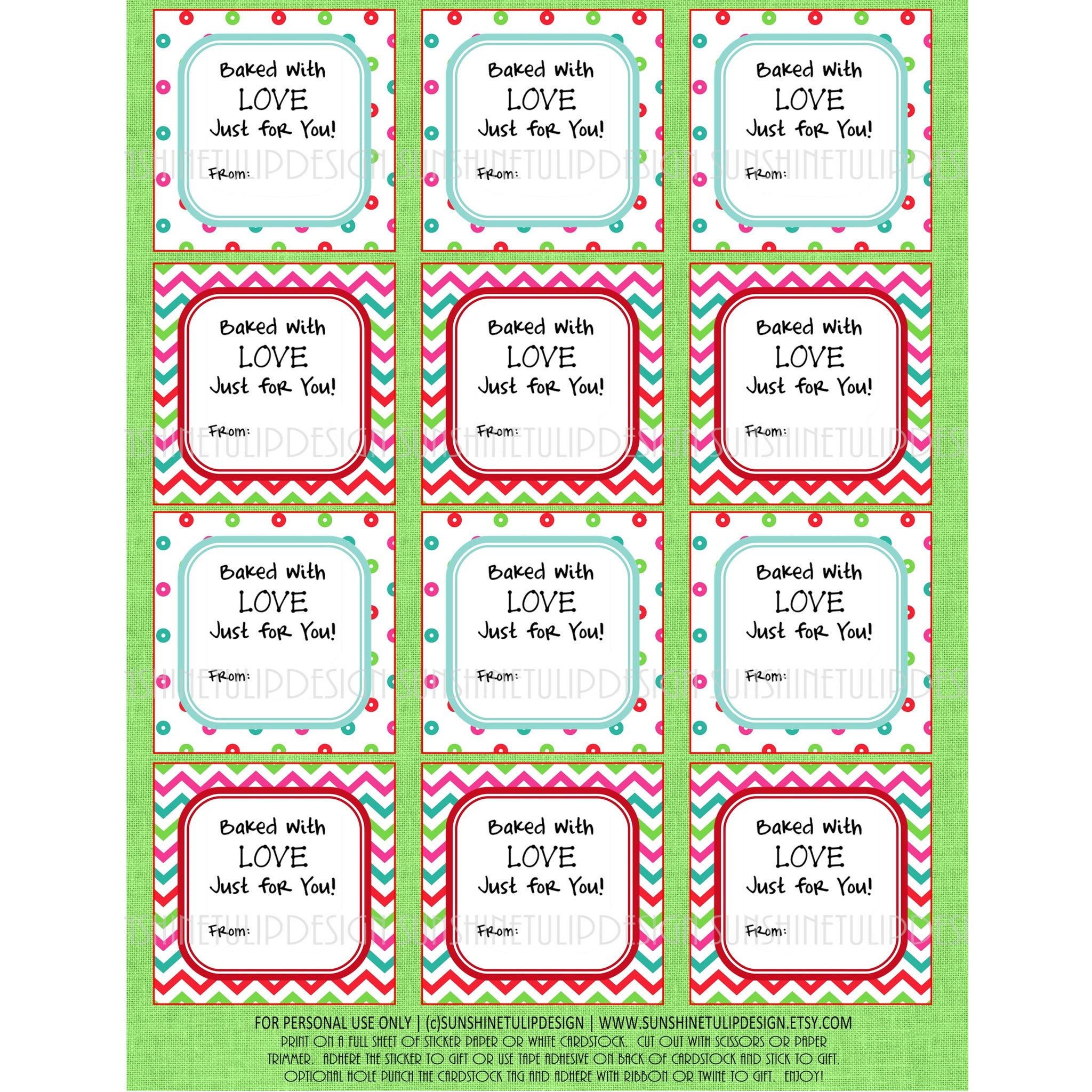 picture regarding Printable Cardstock Tags referred to as Printable Xmas Food items Labels, Baked With Delight in Xmas Present Tags  Sticker Labels
