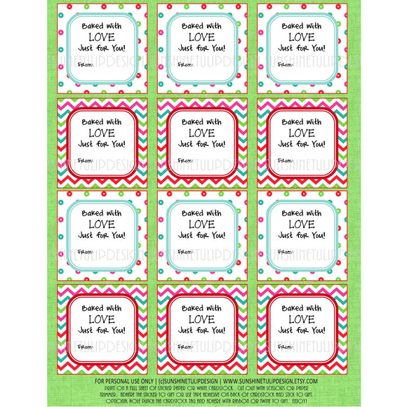 Printable Christmas Food Labels, Baked With Love Christmas Gift Tags & Sticker Labels - Sunshinetulipdesign