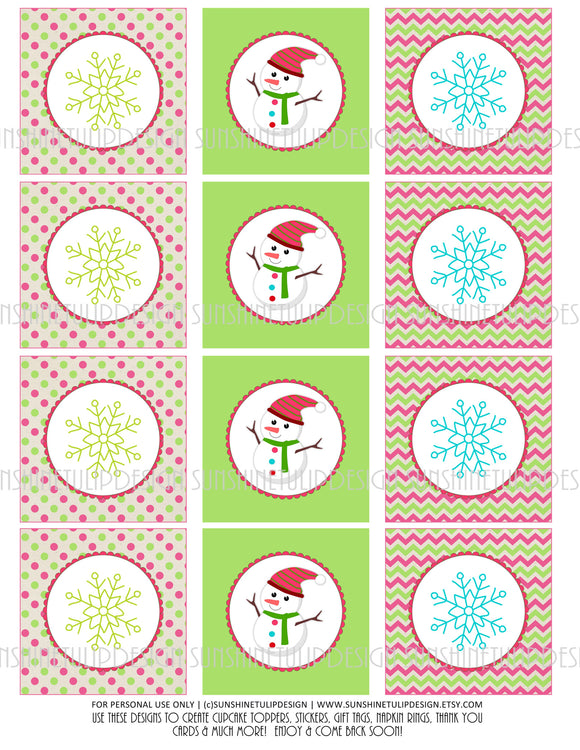 Printable Christmas Snowman Gift Tags & Snowman Cupcake Toppers by SUNSHINETULIPDESIGN - Sunshinetulipdesign