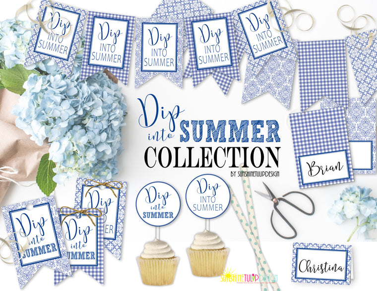 Printable Summer Party Decorations, Instant Download DIP into Summer Party Package by SUNSHINETULIPDESIGN