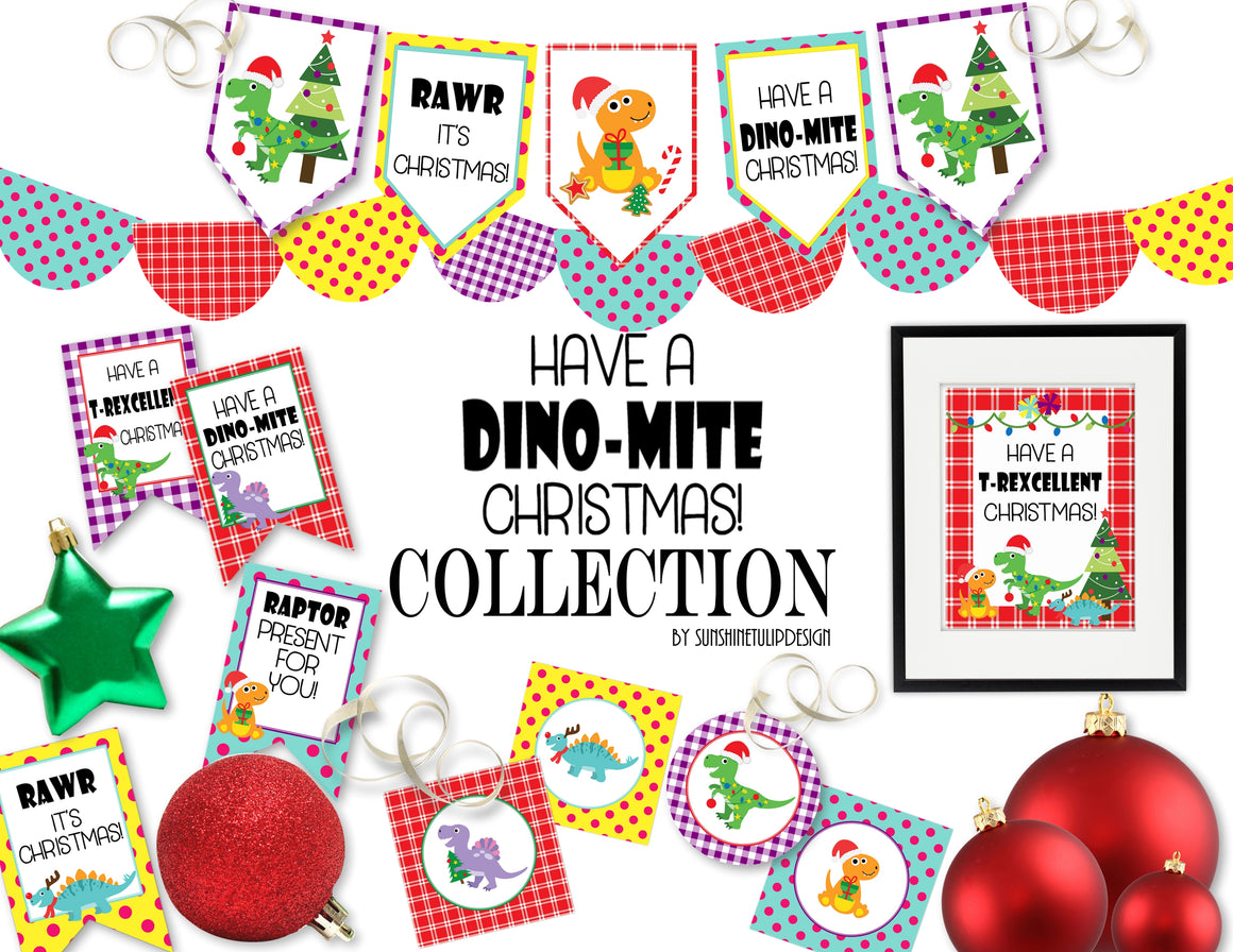 Printable Dinomite Christmas Collection, Printable Dinosaur Christmas Party Package,