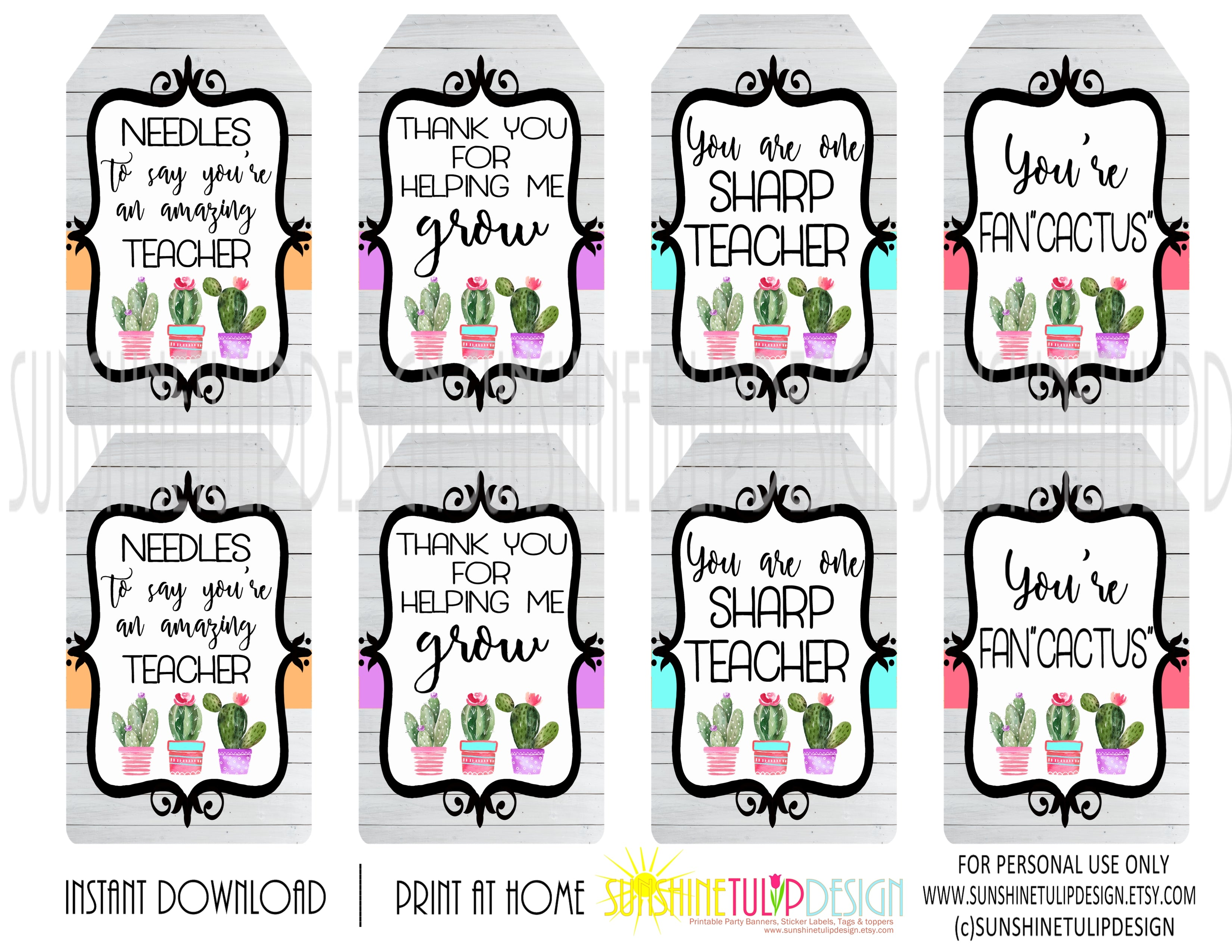 image about Printable Tags called Printable Cactus Reward Tags, Printable Instructor Appreciation Present Tags, Yourself Are FanCACTUS Present Tags via SUNSHINETULIPDESIGN