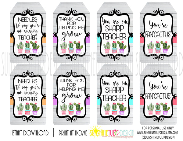 Printable Cactus Gift Tags Printable Teacher Appreciation Gift Tags